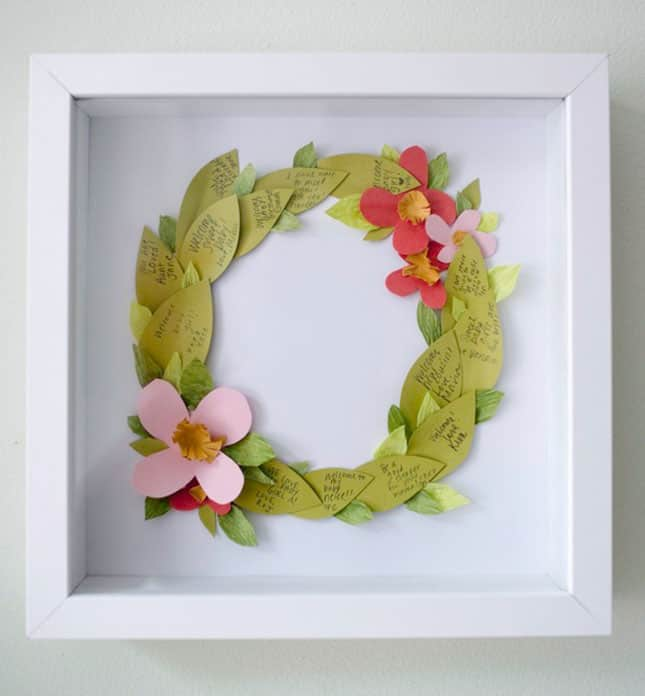 #1 LEAF SHAPED FLORAL WREATH DIY IDEA GREAT FOR A BRIDAL PARTY - WITH EVERYONE