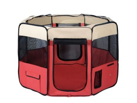 Portable Red Dog Playpen