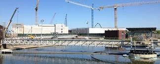 A view of the construction site of Baltimore's Patapsco Wastewater Treatment Plant on the shores of the Patapsco River shows the immense size of the upgrade project.