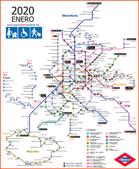 Madrid metro map 2020 adapted, wheelchairs, luggages